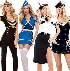 Ladies navy sailor #pilot air #hostess stewardess uniform fancy dress #costumes u, View more on the LINK: http://www.zeppy.io/product/gb/2/310678768296/