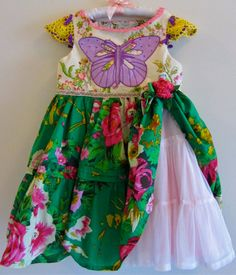 Butterfly  Dress Girls Size 7 Ribbons Roses Purple Hot by IzzyRoo, $49.99