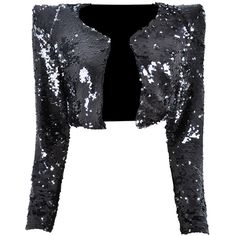 'COCO' DUAL COLOUR BLACK SILVER SEQUIN CROPPED BLAZER JACKET INSPIRED... ($150) ❤ liked on Polyvore