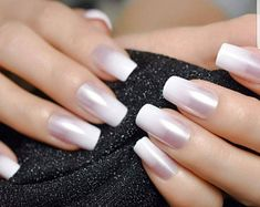 Ombre French Nails, Coffin Nails Ombre, Coffin Press On Nails, French Tip Nails, Nail French, French Tip Nail Designs, Coffin Nails Designs Summer, Nail Polish Designs, Acrylic Nail Tips