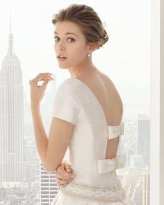 vestido de noiva rosa clara 2015 com lacos nas costas modelo 81118 #casarcomgosto