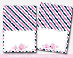 Nautical food tent cards, Whale themed baby shower food labels, Whale buffet labels, BW2-10 Nautical Food, Nautical Baby, Whale Food, Food Tent, Tent Cards, Food Labels, Cute Food, Place Settings, Baby Shower Themes