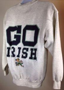 Vtg 80s 90s Notre Dame Fighting Irish Big Print Made in USA Sweatshirt NCAA L | eBay