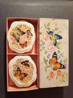 "This is a box of vintage Hostess Soaps from Avon. They are still vibrant and smell great! Summer Butterflies   2 Special Occasion  Fragranced Hostess  Soaps Note: Item is never used, but has slight wear from movement in box.Butterflies and Blossoms bring summer to the bath! The exquisite ""Summer Butterflies""  decals on these two soaps are have been applied with a special process that keeps them from rubbing off or fading with use. Each design stays lovely and fresh for as long as the soap…"