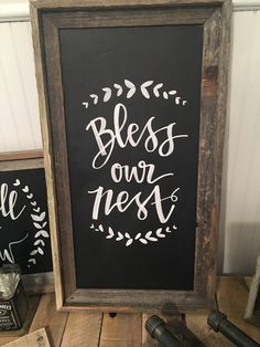 Bless Our Nest Barn Wood Sign Chalkboard sign by BrittandTyler