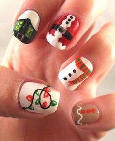 Newest Christmas Nail Ideas for Christmas Sweater Nail Art Designs Ideas; easy and cute Christmas nails; Cute Christmas Nails, Xmas Nails, Diy Nails, Christmas Holiday, Natural Christmas, Holiday Nail Art, Christmas Nail Art Designs, Nail Art Noel, Beautiful Nail Designs