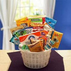 Away From Home Snacks and Essentials Care Package in Mini Laundry Gift Basket $49.98