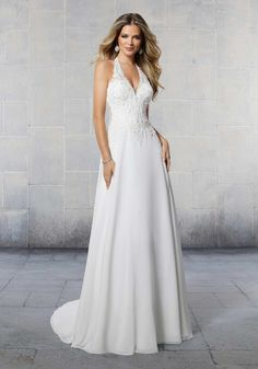 25372 - Sierra - The Sierra wedding dress features crystal beaded alençon lace appliqués on a flowing A-line chiffon skirt. Try this beauty on at Aurora Bridal in Melbourne, FL Classic Wedding Dress, Bridal Wedding Dresses, Wedding Dress Styles, Bridal Gown, Allure Bridal, Allure Bridesmaid, Bridesmaid Dresses, Ball Dresses, Ball Gowns