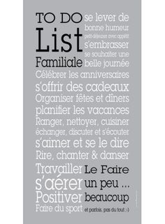 To Do List Famille ® Une belle toile Canvas imprimée. Texte by Cali Colombe. #todolist #home #rules #deco #mur
