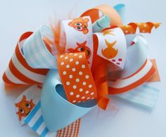 boutique FUNKY FUN FISHY hair bow clip by andjane on Etsy, $12.99