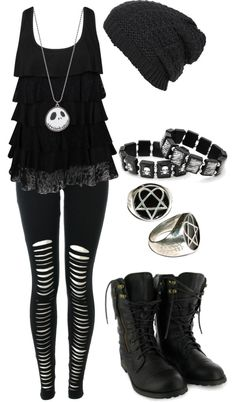 """Untitled #504"" by bvb3666 ❤ liked on Polyvore .... I would swap the necklace with a silver cross one."
