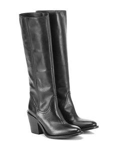 STRATEGIA - Stivali - Donna - Stivale in pelle con suola in cuoio. Tacco 85…