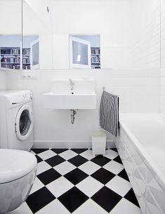 łazienka / bathroom our project #idea #minimal #blackandwhite #chess #white #black #wnętrze #projektowanie #interiordesign #warsaw Bathtub Remodel, Leroy Merlin, Toilet, Home Appliances, Black And White, Design, Minimal, Bathrooms, Future