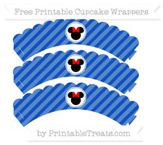 Free Sapphire Blue Diagonal Striped  Minnie Mouse Scalloped Cupcake Wrappers