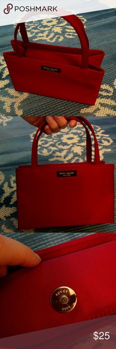 90s vintage red nylon kate spade mini clutch purse Used but in great condition. Really have to get out the magnifying glass to find wear, though it is 20 years old so there's that too. Is a darker red (pictures make it look really bright). Make an offer! Clearing out my closet to move kate spade Bags Mini Bags
