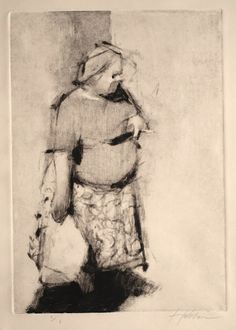 "Frank Hobbs, ""Smoking Woman"" monotype, 12 x 9 in."