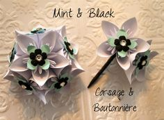 Mint, Black and White Origami Corsage and Boutonnière - Alternative Wedding Flowers - Prom Corsage & Boutonnière. $28.00, via Etsy.