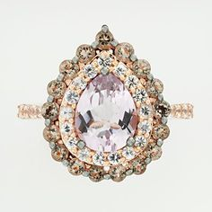 14k Rose Gold Pink Amethyst, White Sapphire and Smoky Quartz Teardrop Ring