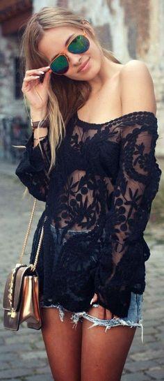 Floral Crochet Lace Top