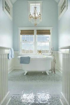 Beautiful Beach Bath in Pastel Blue + Cream With Distressed Wood Details