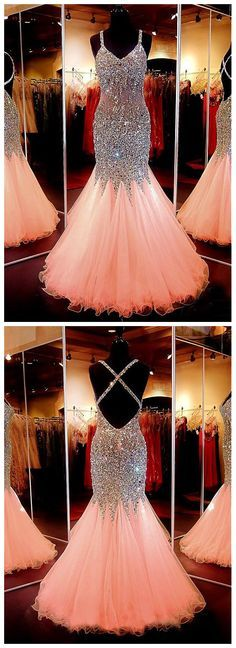 Spaghetti Strap Tulle with Beaded Sparkly Mermaid Prom Dress,Long Prom Dress