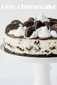 The BEST Oreo Cheesecake recipe! An easy to make, decadent, cookies and cream filled cheesecake with an Oreo cookie crust, chocolate ganache and homemade whipped cream! The Best Oreo Cheesecake Recipe, Cheesecake Oreo Sin Horno, Cookies And Cream Cheesecake, Vegan Cheesecake, Raspberry Cheesecake, Pumpkin Cheesecake, Butter Chocolate Chip Cookies, Oreo Cookies, Chocolate Ganache