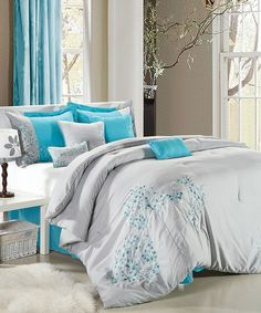 Gray & Turquoise Floral Embroidered Comforter Set   zulily