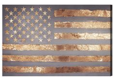 Rocky Freedom Canvas - golden stars and stripes on this metallic american flag wall art | dormify.com