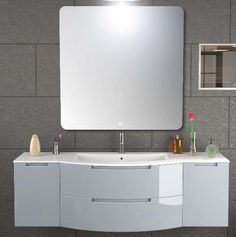 57 inch modern floating bathroom vanity white glossy finish made