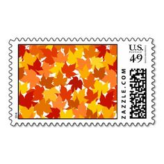 Maple tree autumn leaves postage stamp  #postage #stamp #stamps #zazzle #leaves #floral #leaf #nature