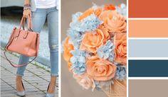 Сочетание персикового с голубым и синим цветом