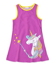 Purple & White Unicorn Tank Dress - Toddler & Girls