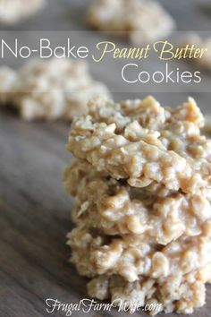 These peanut butter no-bake cookies are da bomb! So easy to make, satisfies that PB craving like nothing else! Oatmeal No Bake Cookies, Chocolate No Bake Cookies, Yummy Cookies, Gooey Cookies, Oatmeal Cake, Baking Cookies, Shortbread Cookies, Chocolate Ganache, Healthy Dessert Recipes