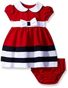 Bonnie Baby Peter Pan Collar Nautical Dress and Panty Set, Red, Months. Nautical dress and panty set with peter pan collar and bow. Back zipper. Toddler Dress, Baby Dress, Toddler Girl, Girls Dress Up, Little Girl Dresses, Fashion Kids, Fashion Bra, Babies Fashion, Baby Girl Fashion