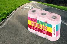 Jeu de mots de Monoprix: Il faudra rouler à gauche - référence à la Tour de France