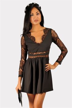 Riley Fine Lace Dress - Black at Necessary Clothing