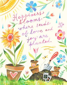 Happiness Blooms art print Inspirational Wall by thewheatfield