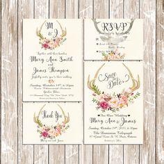 Invitation kit Deer Antler Wedding Invitation Pink floral rustic Set/Suite Save the date RSVP Thank You Cards Printable digital files by HappyLifePrintables on Etsy https://www.etsy.com/listing/235550146/invitation-kit-deer-antler-wedding