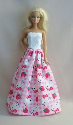 Handmade Barbie Clothes Pink Hello Kitty by PersnicketyGrandma, $7.00