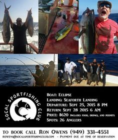 2.5 day fishing trip on the Eclipse! Sept 25th to 28th 2015 $620