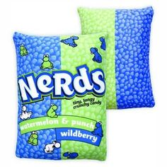 Get comfy with Large Nerds Candy Microbead Pillow. This Squishy Nerds Candy Pillow features watermelon and wildberry nerds candy. Made of stretchy polyester with foam beads. Candy Pillows, Food Pillows, Cute Pillows, Diy Pillows, Throw Pillows, Fluffy Pillows, Candy Room, Nerds Candy, Pillos