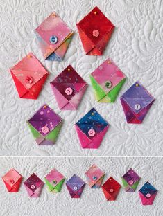 Fabric Origami Bag Patterns- sew fast and fun origami folded pockets.