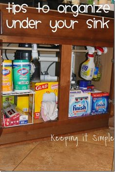 Under Sink Rack - Simple Tips to Help Organize Under Your Kitchen Sink Do It Yourself Organization, Organizing Your Home, Kitchen Organization, Organization Hacks, Kitchen Storage, Diy Kitchen, Organization Ideas, Kitchen Ideas, Organizing Tips