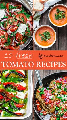 Ten Fresh Tomato Recipes with a Mediterranean Twist | The Mediterranean Dish. Easy and flavor packed dinner and side dish recipes to help you use up fresh ripe tomatoes! Mediterranean chicken with tomato and feta; a gorgeous roasted eggplant and tomato caprese salad; creamy vegan Gazphacho and more! See them on TheMediterraneanDish.Com