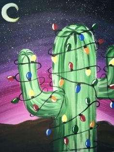 FULL tutorial! Christmas Tree Cactus - Tracie's Acrylic Painting Tutorials. Step by step directions on how to paint this!!!