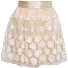Nude Organza Floral Skirt ($80) ❤ liked on Polyvore