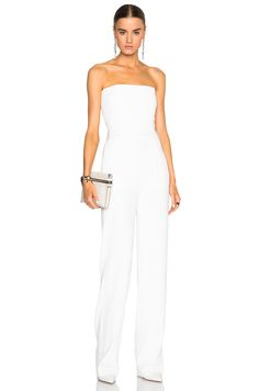Image 1 of GALVAN Strapless Jumpsuit in White