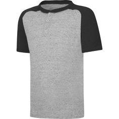 Hanes X-Temp Boys' Short Sleeve Raglan Henley T-Shirt, Size: XS, Black
