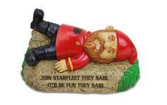 Star Trek Dead Red Shirt Garden Gnome Starfleet Ornament Funny Beyond