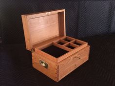 Large Jewelry box with drawer Home Office Furniture, Fine Furniture, Custom Furniture, Large Jewelry Box, Jewellery Box Making, Dividers, Built Ins, Black Velvet, Trays